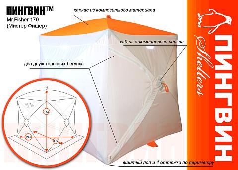 Зимняя палатка Пингвин Мистер Фишер 170  - купить в Москве по цене 5 700 Р в интернет-магазине 7veter с доставкой